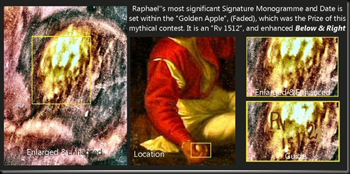 Picture 1d Raphael's 'RV 1512' Monogramme & Date extant within the Golden Apple Prize