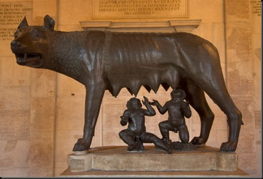 1)	13th and late 15th century AD or c. 500-480 BC, The Capitoline Wolf, bronze, Capitoline Museum, Rome.