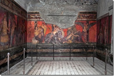 "Painting from the ""Villa of Mysteries,"" Pompei, thought to portray initiation into the mysterious Dionysion cult."