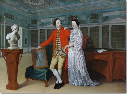 Sir Rowland Winn (1739-1785), 5th Bt, and His Wife Sabine Louise d'Hervart (1734-1798), in the Library at Nostell Priory